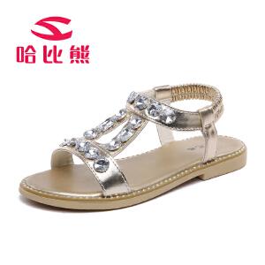 哈比熊童鞋女童凉鞋2017新款夏季公主鞋子中大童舞蹈鞋学生沙滩鞋