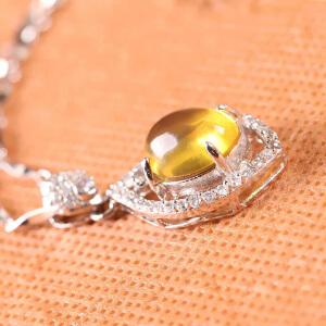 德仁恒宝 精美太阳之光琥珀镶镀白金吊坠