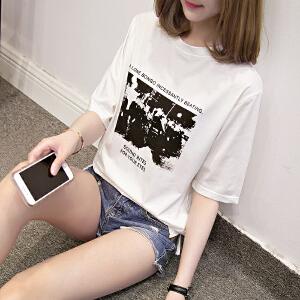 夏装韩版百搭字母印花短袖上衣学生宽松港味T恤大码女装JM028-7161