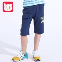 小猪班纳童装男童短裤夏七分裤中大童儿童运动裤纯棉中裤2017新款