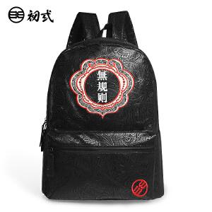 初�q中国风潮牌复古男女书包文字刺绣无规则PU电脑双肩背包41073