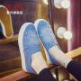 智升2017春季新款厚底镶钻牛仔帆布鞋女乐福鞋一脚蹬休闲平底平跟学生懒人鞋女鞋