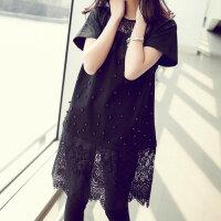 韩版加大码孕妇胖妹妹夏装中长款连衣裙200斤胖mm显瘦蕾丝衫短袖上衣