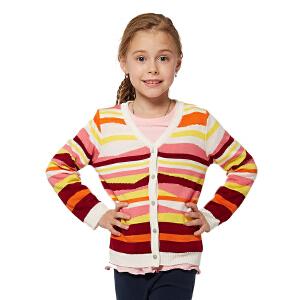 派克兰帝童装 女童时尚彩条针织开衫女孩秋装毛衣开衫