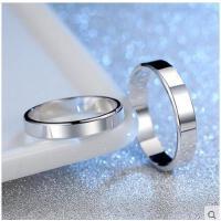 简约大气精致耐磨光面对戒指环气质百搭尾戒S925纯银男女情侣戒指