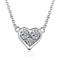 先恩尼钻石 白18K金 钻石项链 心形锁骨链 钻石吊坠 love爱 附证书 免费刻字