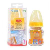 nuk 奶瓶 德国NUK宽口径耐高温玻璃彩色婴儿奶瓶 新生儿奶瓶 防胀气120ML 不含双酚A 0-6个月