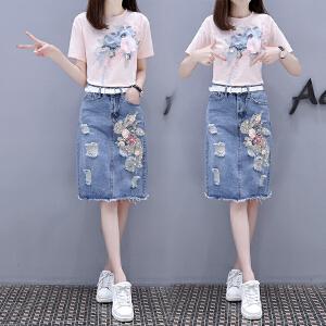 夏装韩版宽松五分袖时尚纯色拼接袖t恤学生女BH500-1899