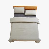 当当优品家纺 纯棉日式色织水洗棉床品 1.5米床 床笠四件套 条纹黑茶