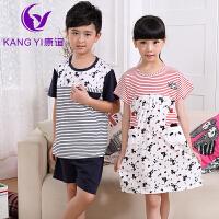 香港康谊 儿童睡衣夏季男孩女童睡衣纯棉男童睡衣套装儿童家居服
