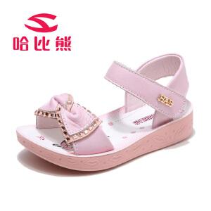 哈比熊女童凉鞋2017夏季新款儿童公主鞋蝴蝶结女孩凉鞋韩版潮