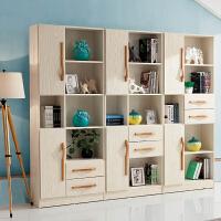 御品工匠 实木书柜北欧白橡木书房 带门书架 环保置物架展示柜 B01双门书柜