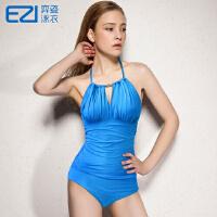 2016弈姿EZI温泉新款纯色 性感露背显瘦 女连体三角游泳衣1513