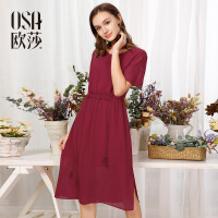 OSA欧莎女装2017夏装新品流苏点缀开衩下摆连衣裙