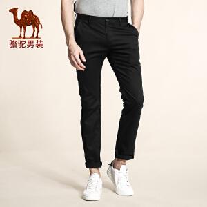 骆驼男装 夏季新款中腰修身商务休闲长裤薄款纯色休闲裤男