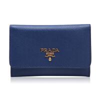 Prada/普拉达深蓝色牛皮材质金属logo装饰女士卡包