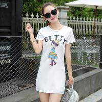 【仅限今日,下单立减30】夏装新款韩版短袖t恤女中长款百搭宽松打底衫潮FLD4119-8610