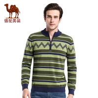 骆驼男装 秋季新款时尚都市套头直筒撞色提花立领长袖毛衣男