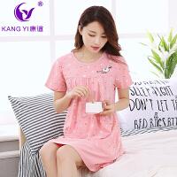 香港康谊夏季睡衣女纯棉短袖甜美卡通睡裙宽松全棉家居服