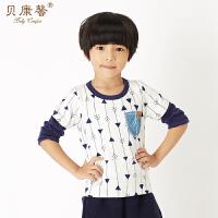 【当当自营】贝康馨童装 男童贴兜拼袖T恤 韩版时尚假两件T恤新款秋装