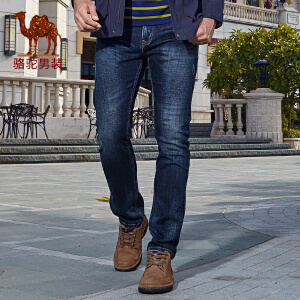 骆驼男装 秋季新款时尚都市商务休闲中腰牛仔裤青年长裤子男
