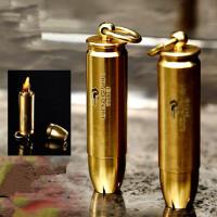 户外 军迷用品复古战壕子弹头纯黄铜煤油打火机 防水密封仓