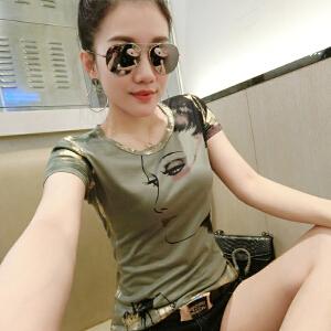 薇小歪夏新款时尚烫金短袖t恤女修身显瘦欧货百搭打底小衫DXH317-9866