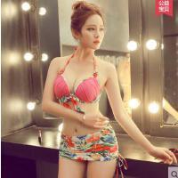 韩版时尚泳衣女性感钢托分体裙式大码比基尼三件套大胸聚拢温泉泳装