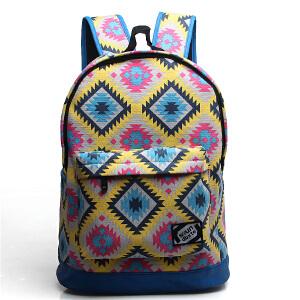 韩版潮印花双肩包女学院风学生书包休闲旅行背包电脑包21107