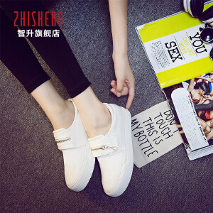 秋季懒人鞋女一脚蹬韩版女鞋学生帆布鞋女魔术贴白色板鞋女小白鞋