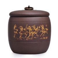 陶瓷故事 精品宜兴紫砂茶叶罐醒茶罐茶道配件八骏马普洱茶罐