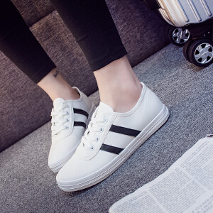 2017春秋小白鞋平底帆布鞋女韩版系带休闲布鞋透气学生板鞋低帮鞋