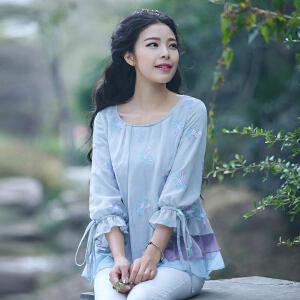 烟花烫2017秋装新品衬衫女甜美宽松版雪纺刺绣七分袖上衣宁馨