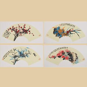《梅兰竹菊》扇面国画,清华美院毕业,中国书画家协会理事刘洪迎作品3