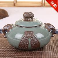 林仕屋 哥窑普洱茶叶罐包装盒储茶罐储物罐大号密封罐带盖陶瓷罐子大茶缸CYG3681