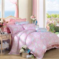 富安娜家纺 馨而乐韩式天丝贡缎床单四件套田园莱赛尔床上用品 清韵粉彩 蓝色 1.8米(6英尺)床