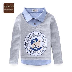 【秋装上新】binpaw宝宝体恤 男童长袖T恤衫 童装春装2017新款 儿童假两件上衣