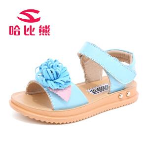 哈比熊童鞋女童凉鞋2017夏季新款儿童鞋子中大童鞋子公主凉鞋