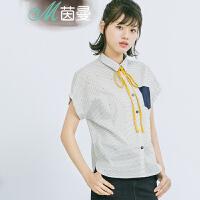 茵曼女装上衣短袖衬衣纯棉衬衫【1862013346】