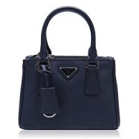 Prada/普拉达藏青色牛皮材质金属logo装饰女士手提单肩杀手包