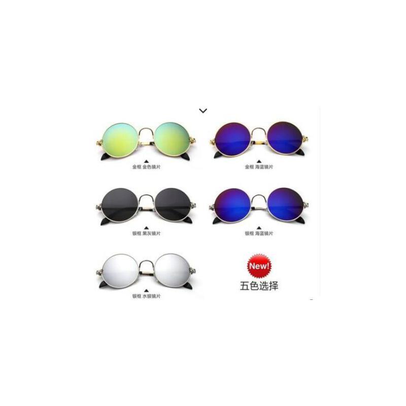 新款 户外运动时尚舒适 休闲圆形墨镜男女适用_银框 海蓝镜片