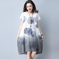 【仅限今日,下单立减30】夏装新款渐变色棉麻印花短袖连衣裙显瘦a字裙KGC105-8520