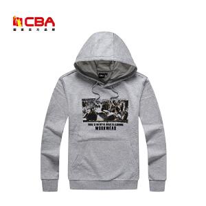CBA男子运动卫衣男士春秋冬款舒适保暖连帽套头衫男连帽运动卫衣外套