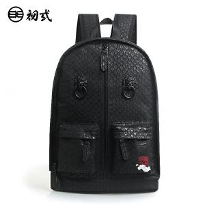 初�q中国风潮牌PU男女复古鳄鱼纹双狮子头黑色书包双肩背包41091