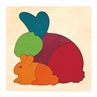 德国HapeE6504创意拼图-彩虹兔早教启蒙木制玩具