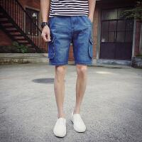 牛仔短裤男五分裤男工装休闲短裤潮个性多口袋休闲短裤男