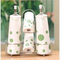 厨房用品陶瓷调味瓶四件套带不锈钢铁艺搁物架