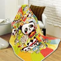 富安娜家纺 熊猫系列毛毯儿童毯子法兰绒毯午睡毯快乐冒险家