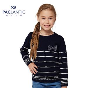 派克兰帝2016秋冬儿童毛衣 女童条纹蝴蝶结套头线衣