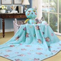 富安娜家纺馨而乐家居儿童毛毯子午睡毯浴袍卡通披肩毯 兔兔乐园 蓝色 100*100